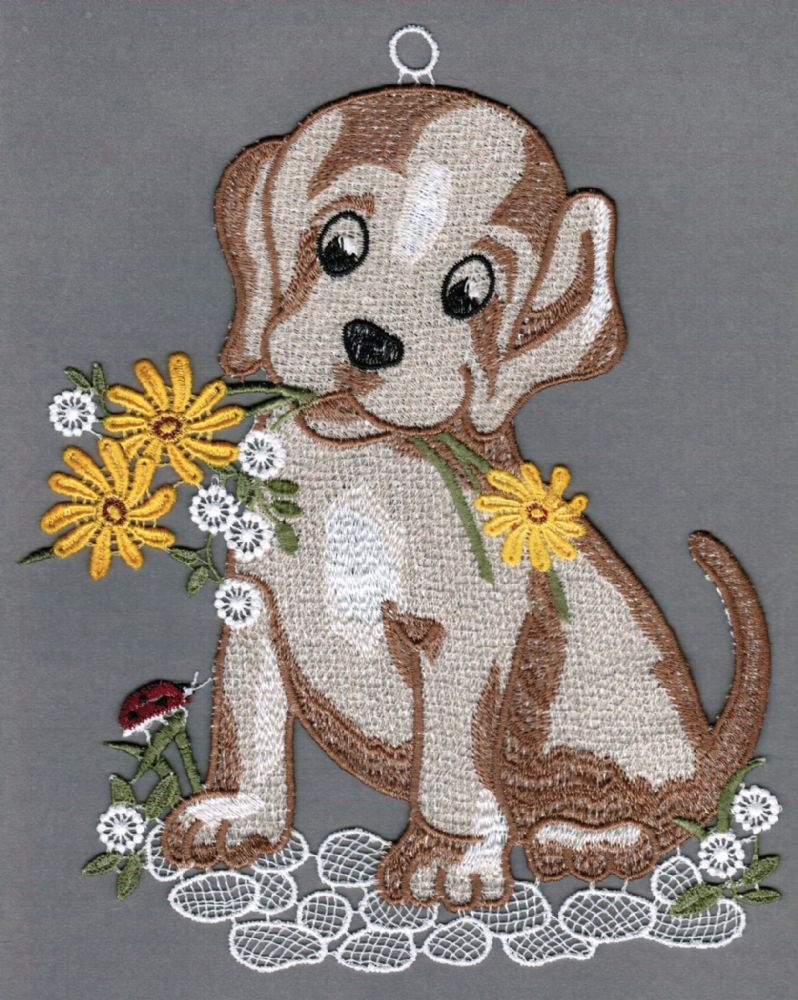 Embroidered Lace Dog with Dandelions Window Picture